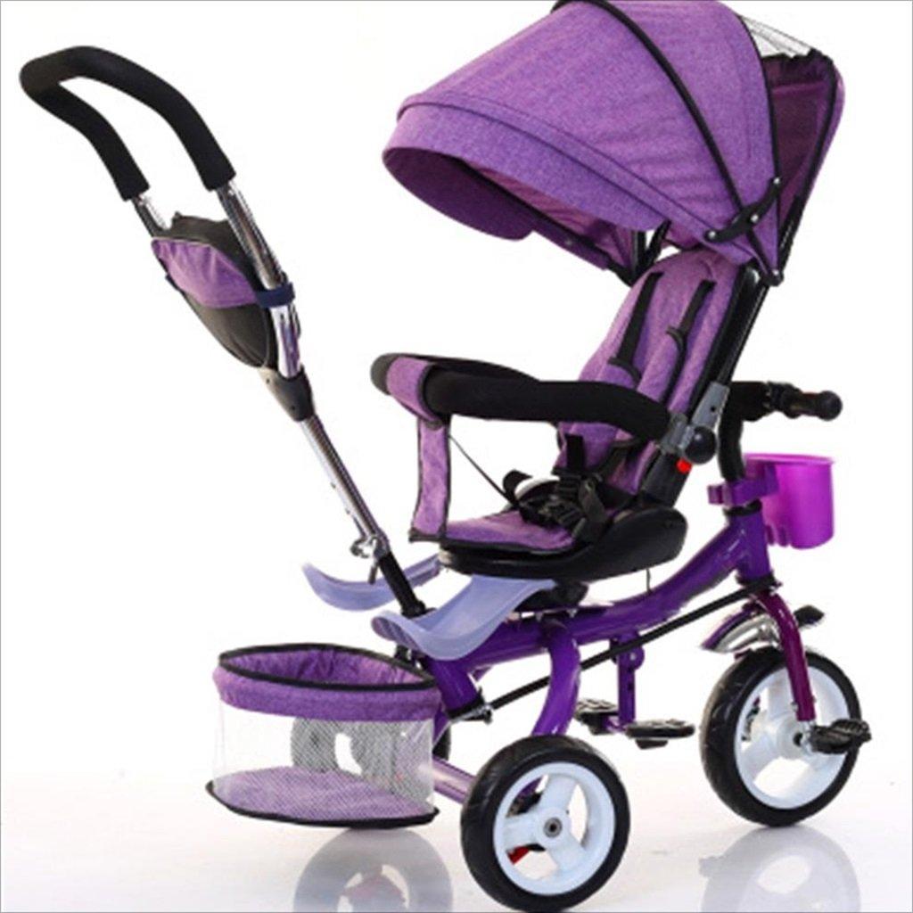 子供の屋内屋外の小さな三輪車自転車の男の子の自転車の自転車6ヶ月-5歳の赤ちゃんの3つのホイールトロリー、ダンピング/回転シート/発泡ホイール (色 : 1) B07DVKL9ZR1