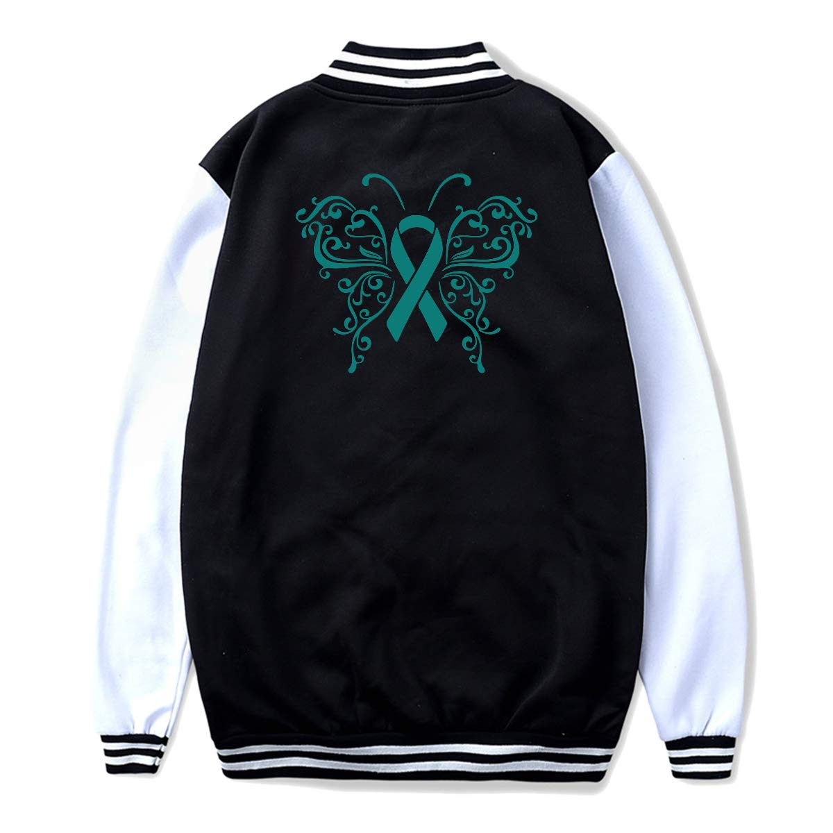 Unisex Youth Baseball Uniform Jacket Ribbon Butterfly Ovarian Cancer Coat Sport Outfit Back Print