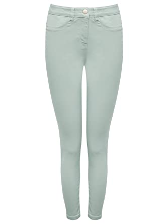 403b0e91b8f40 M&Co Ladies Petite Stretch Cotton Blend Plain Mint Green Mock Front Pocket  Fly Front Denim Jeggings