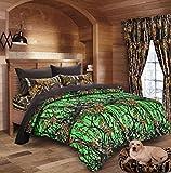 20 Lakes Biohazard Green Camo Comforter, Sheet, Pillowcase Set (King, Biohazard Green/Black)