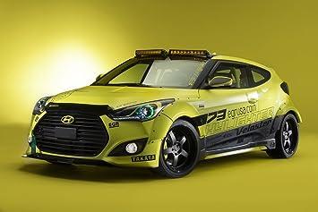 Hyundai Veloster Turbo Yellowcake Night Racer (2013) Car Art Poster Print on 10 mil
