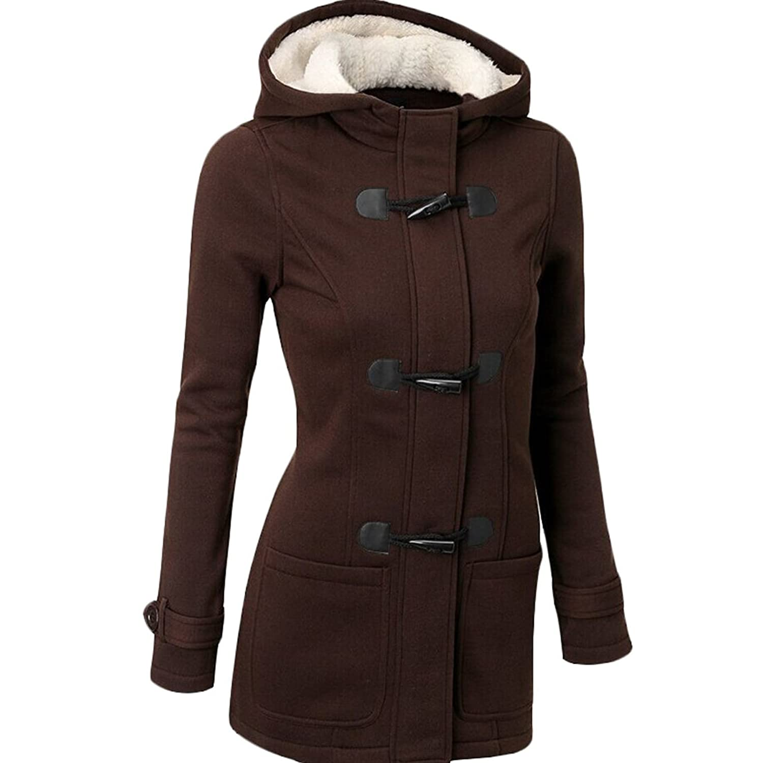 WANSHIYISHE Womens Classic Single-breasted Hooded Slim Fit Pea Coat