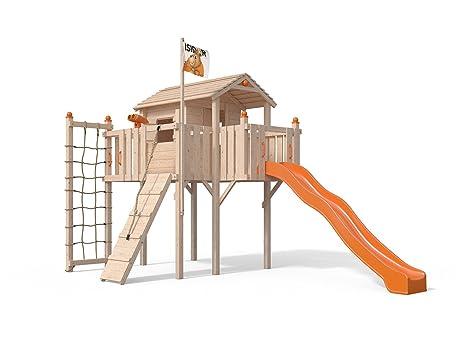 terrizio XL de parte Torre algodón casa con tobogán, Rampa de escalada, red de