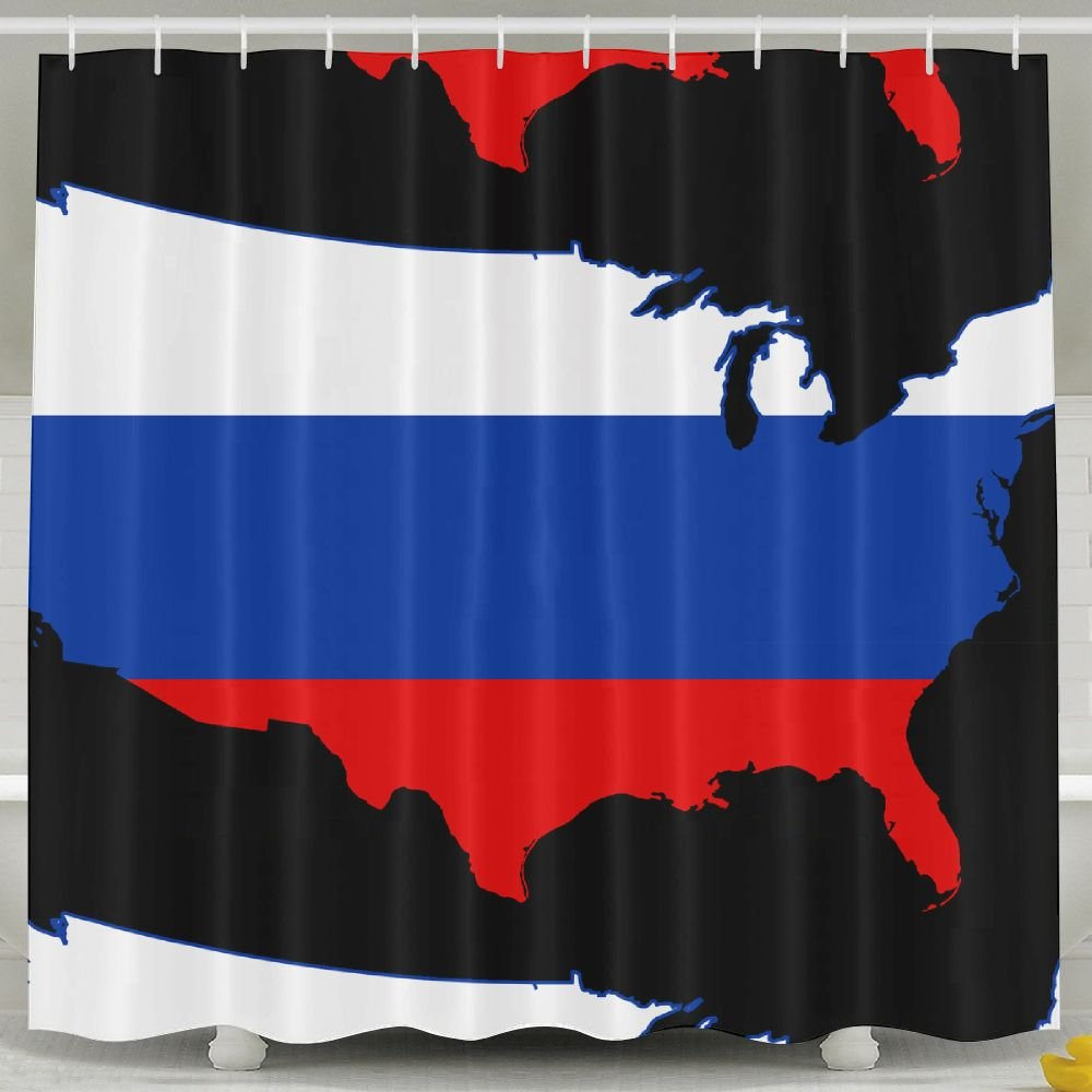 BINGO FLAG Funny Fabric Shower Curtain Map USA Flag Waterproof Bathroom Decor With Hooks 60 X 72 Inch