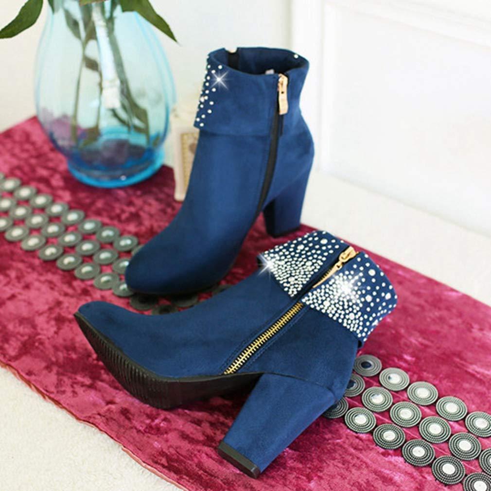 Womens Chunky Block High Heel Rhinestone Ankle Boots Suede Platform Zipper Bootie Dress Short Boots