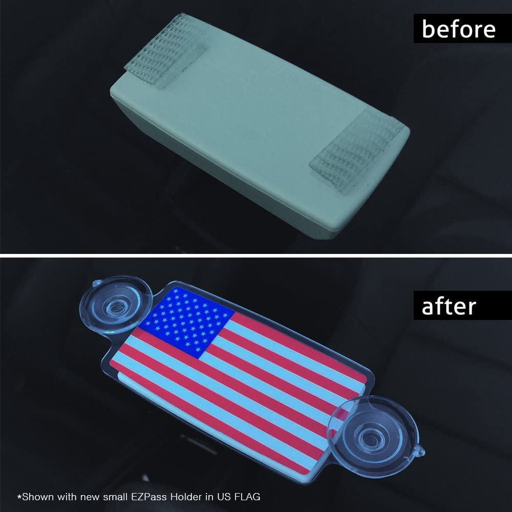 EZ Pass Holder AutoBoxClub Black US Flag IPass Holder//Toll Pass Holder for Most US States//Toll Pass Windshield Mount//Easy to Install and Remove//with 4pcs Toll Pass Mounting Strips//UV-Protective