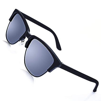213b4af195 AOKNES Polarized Sunglasses Men Women Semi Rimless Casual Narrow Fit  Classic Retro Round Sun Glasses