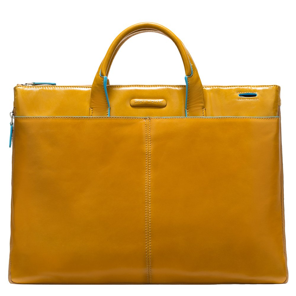 Piquadro Slim Expandable Briefcase In Leather, Yellow, One Size
