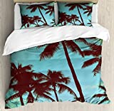 Vintage Hawaii Queen Size Duvet Cover Set by Lunarable, Scenes from Tropical World Palm Trees with Open Sky Photography Dreamy, Decorative 3 Piece Bedding Set with 2 Pillow Shams, Blue Green Black