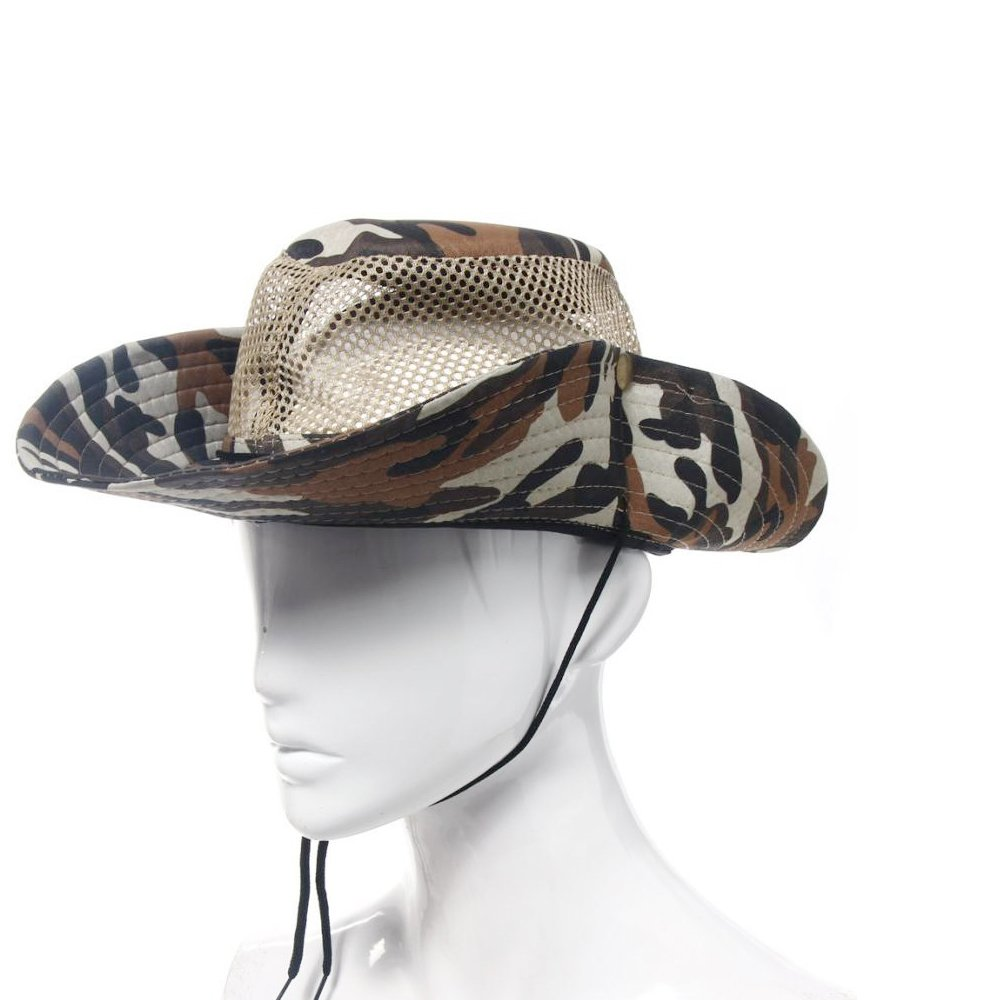 7364806d ... Wide Brim Boonie Sun Hats for Men, Polyester Bucket Mesh UV Protection Fishing  Hats with Adjustable Straps,Camouflage Fisherman Hat for Fishing,Hunting ...