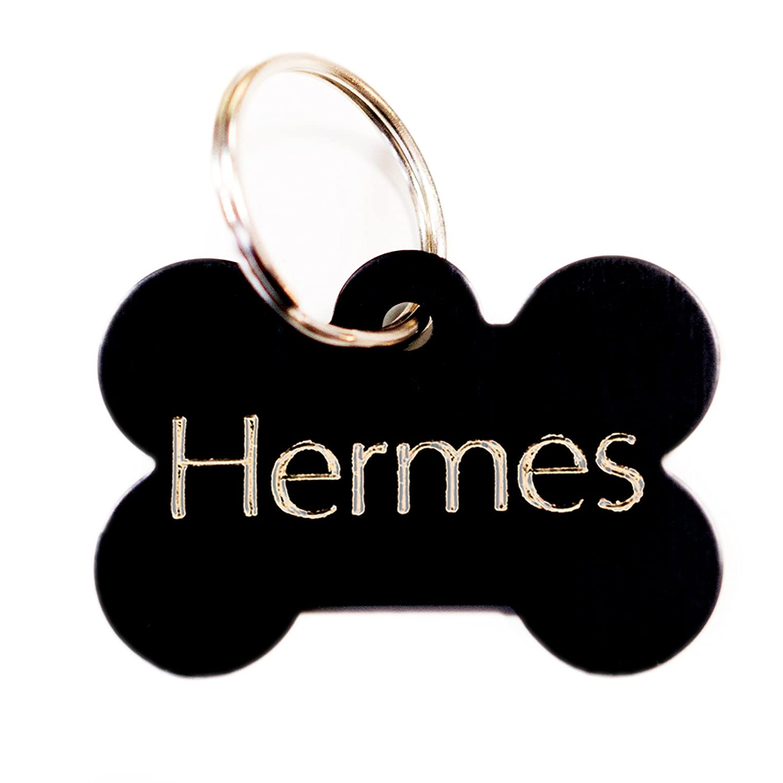 Médaille gravée pour chien OS noir pour moyen/grand chien, GRAVURE OFFERTE, Livraison ultra rapide. (4cm x 2.5cm) AtooDog
