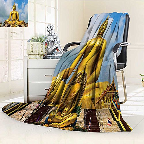 AmaPark Digital Printing Blanket Yoga The Biggest Gen Statue at the Temple in Thai Oriental Sage Asian Style Summer Quilt Comforter by AmaPark