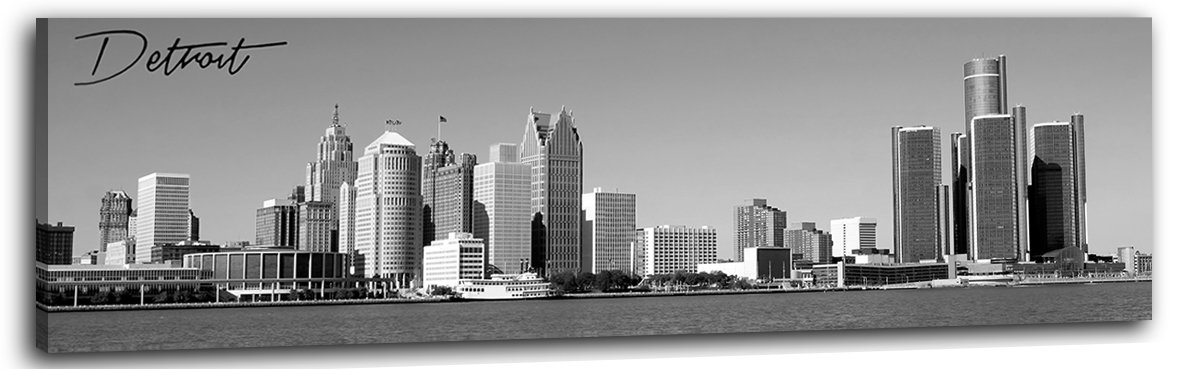 """DJSYLIFE Detroit Skyline Wall Art - Black and White Stretched Canvas Wall Art Prints for Bedroom or Office Decoration - Ready to Hang 13.8"""" x 47.3"""""""