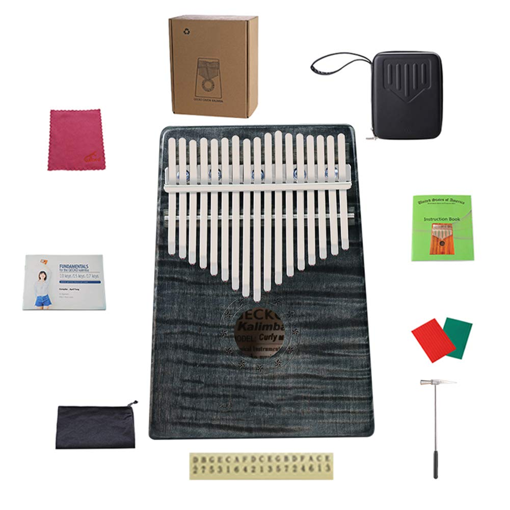MG.QING Kalimba 17 Keys Curly Maple Thumb Piano and EVA High Performance Tuning Protection Hammer,Black