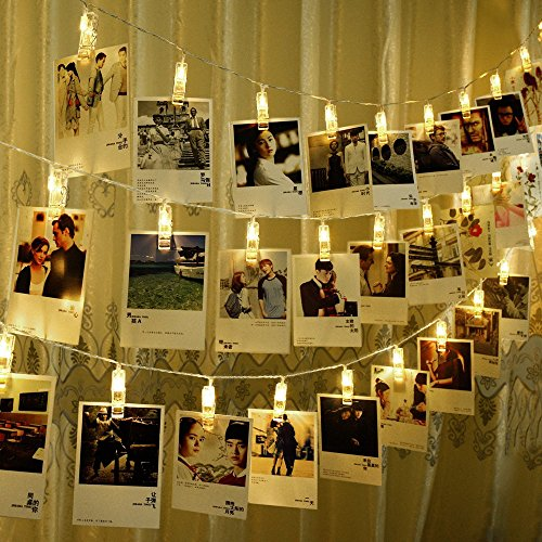 5m Hanging Picture Decoration Fairy Lights 20 Photo Clips String Lights in Warm White for Birthday Parties & Home Décor by Glift(TM)