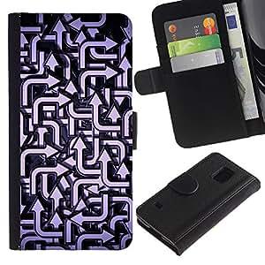 KingStore / Leather Etui en cuir / Samsung Galaxy S5 V SM-G900 / Patrón Dirección Azul Blanco
