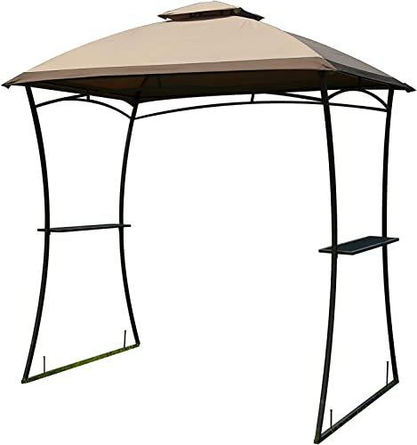 Gaier Barbecue Grill Gazebo BBQ Shelter Canopy Tent Sun Shade Yard Metal Gazebo 2Pcs Coffee Shelter