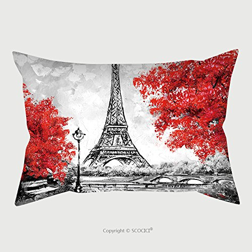 Custom Microfiber Pillowcase Protector Oil Painting Paris European City Landscape France Wallpaper Eiffel Tower Black White And Red 533019160 Pillow Case Covers Decorative