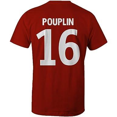 Simon Pouplin 16 Club Player Style T-Shirt Red White  Amazon.co.uk ... 984cbcfb938d2