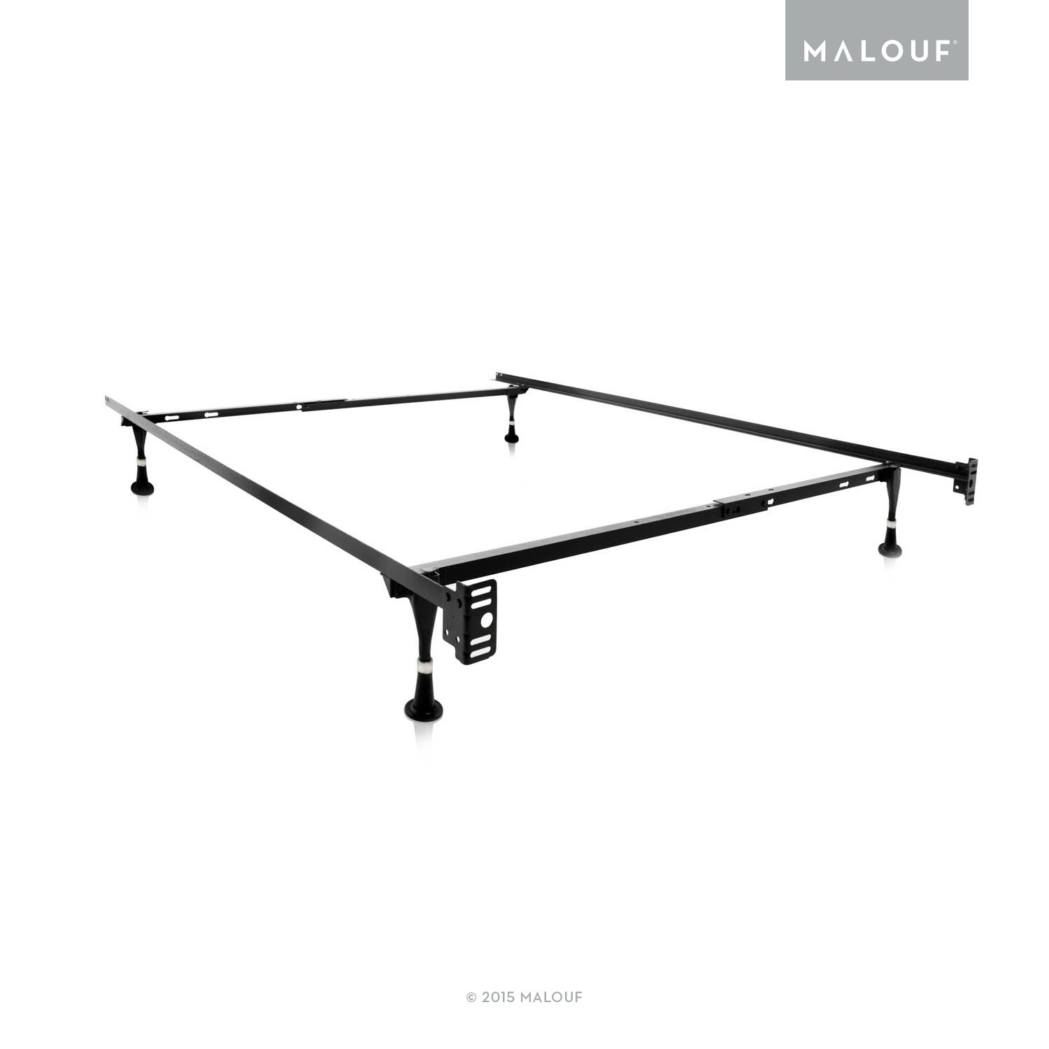 MALOUF Structures Twin/Full Adjustable Metal Bed Frame with in-line Glides Black