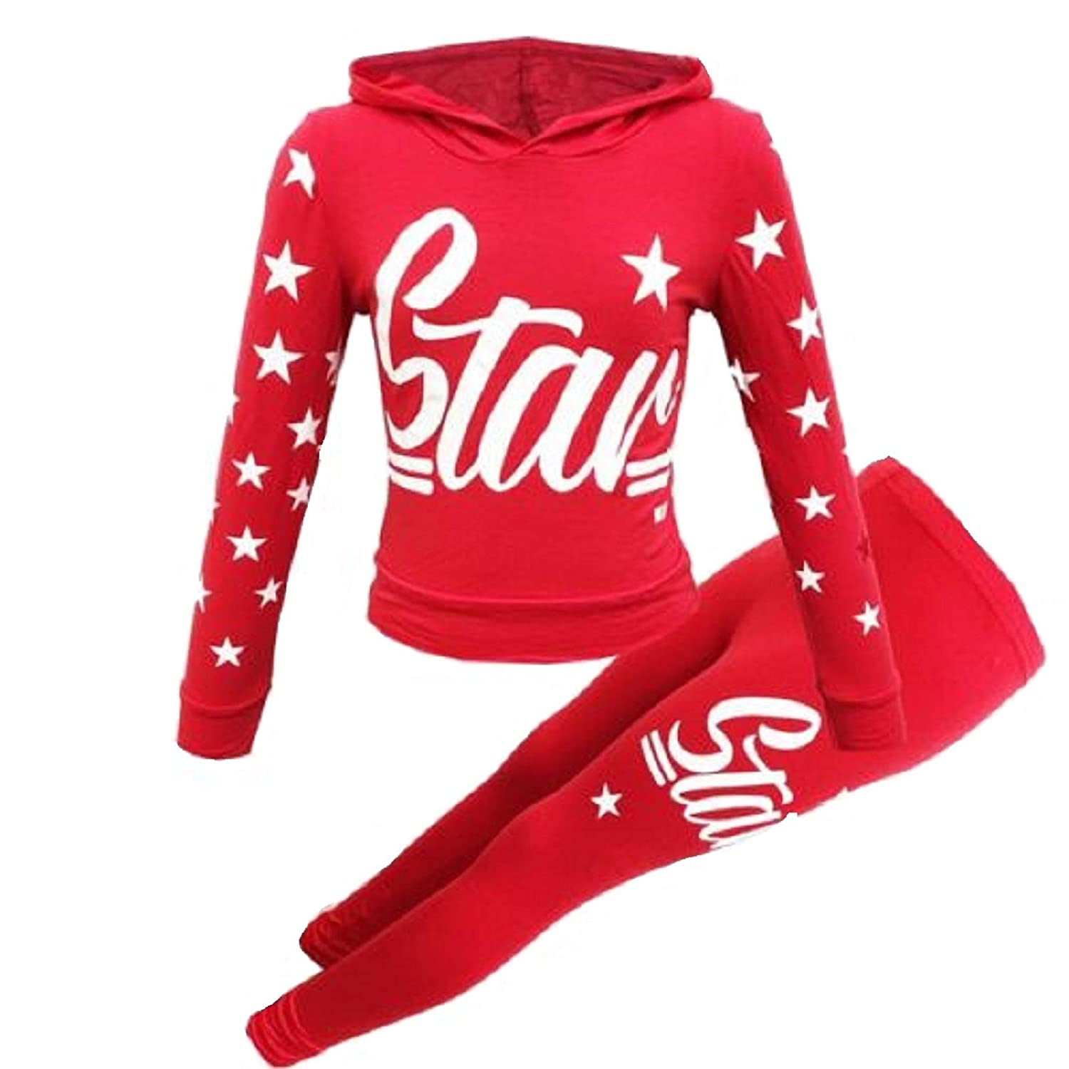New Girls Star Print Hooded Top & Bottom Set Kids Tracksuit Loungwear UK Age 7-13 Years