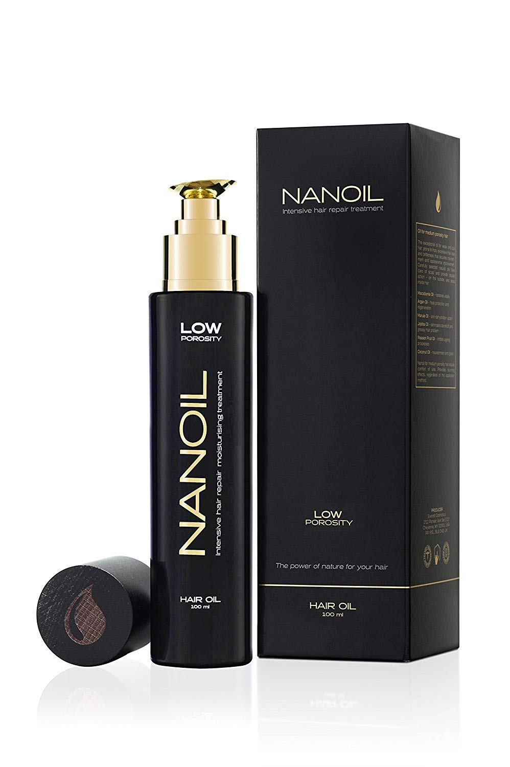 Nanoil, Low Porosity Control Hair Repair Oil To Moisturize and Prevent Dryness and Frizz, Contains 9 Natural Oils, 100 Milliliters