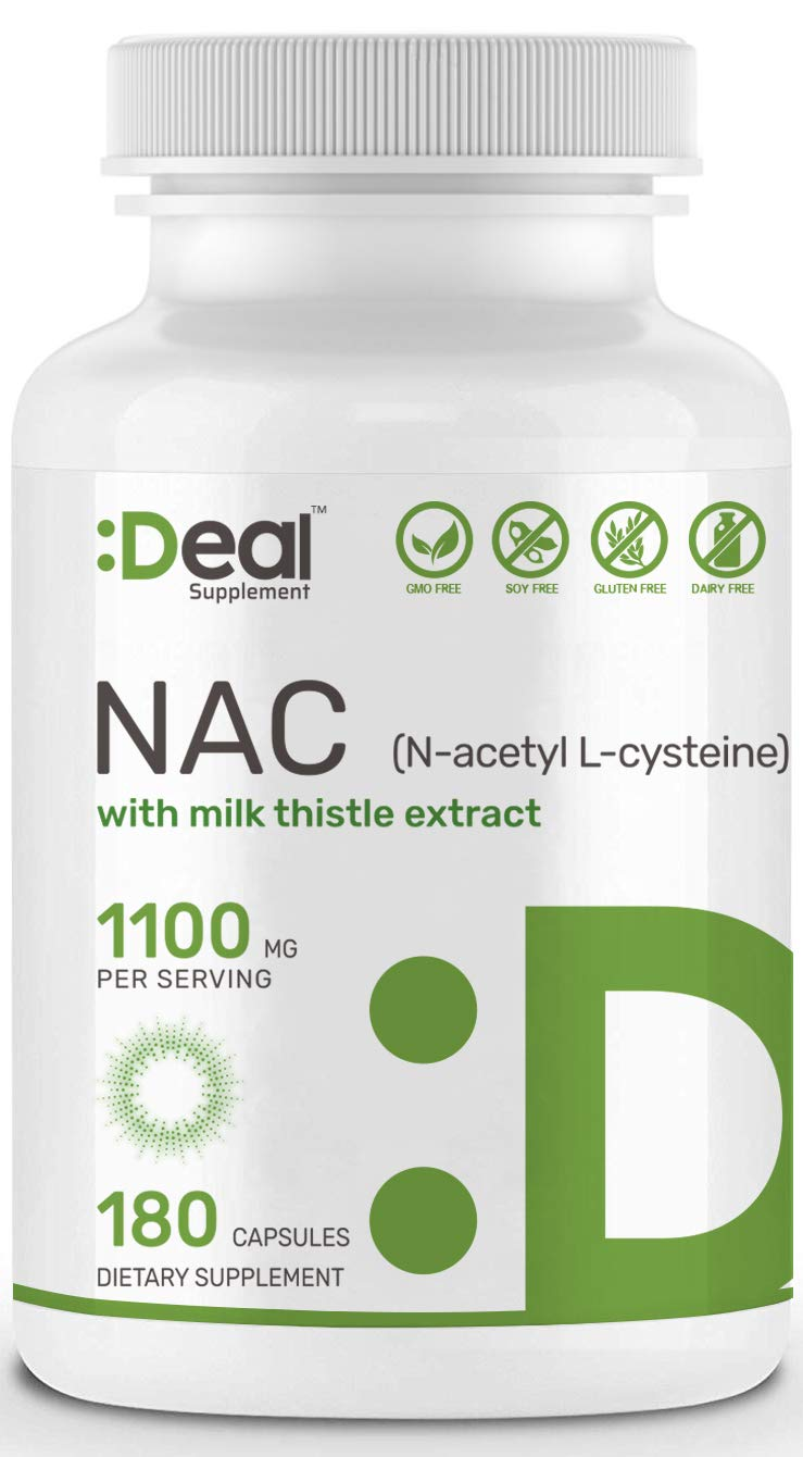 Deal Supplement N-Acetyl L-Cysteine (NAC) with Milk Thistle Extract, 1100mg per Serving, 180 Capsules, Non-GMO, Made in USA by Eagleshine Vitamins