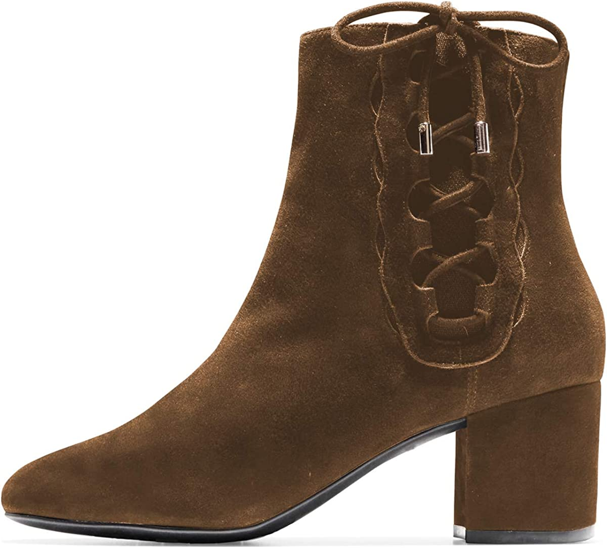 YDN Women Round Toe Block Ankle Boots Low Heel Booties Faux Suede Side Zips Shoes