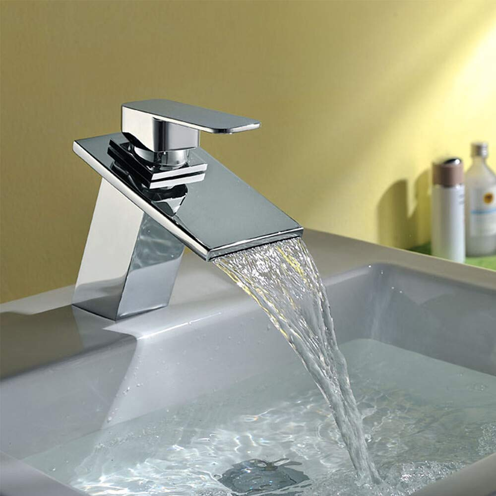 Novopus Bathroom faucet:Contemporary Art Deco Retro Modern Centerset Waterfall Ceramic Valve Single Handle One Hole Chrome, Bathroom Sink Faucet