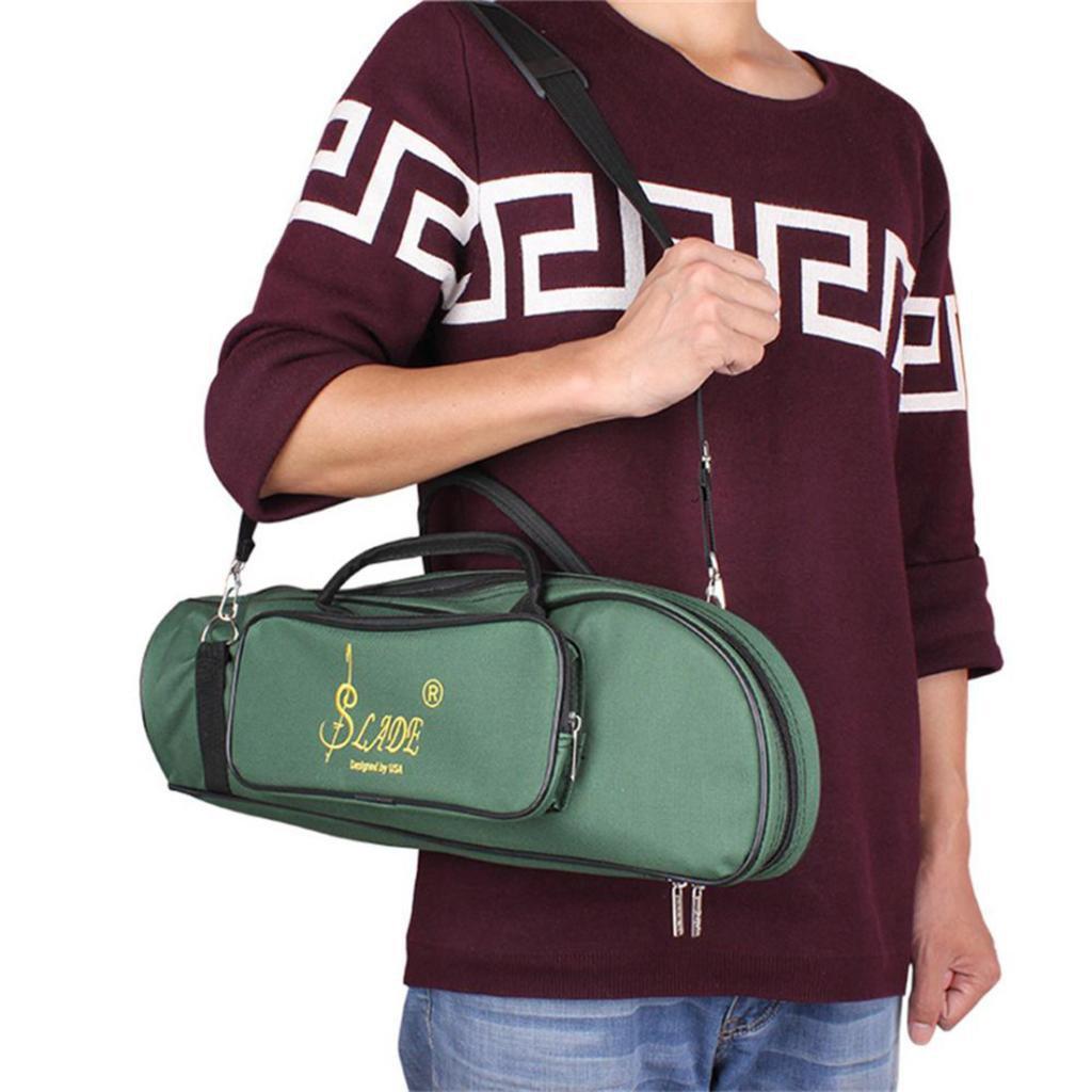 MonkeyJack Trumpet Bag Gig Bag Oxford Cloth For LADE Trumpet Soft Case Thicken Green