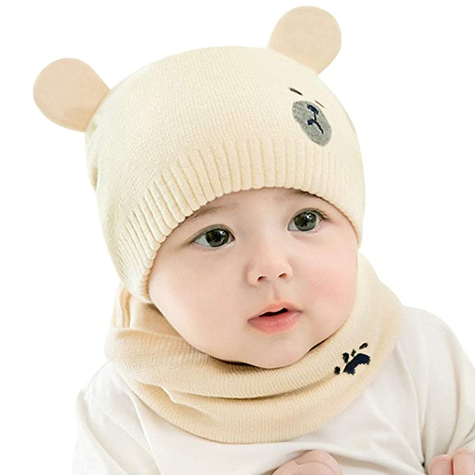 DORRISO Carina Neonato Cappello con Sciarpa Autunno Invernale Piccolo Orso  Cappelli Sciarpa Infantili del Bambino Cappello Adatto per Bambini 0-3 Anni   ... 13128a25603c