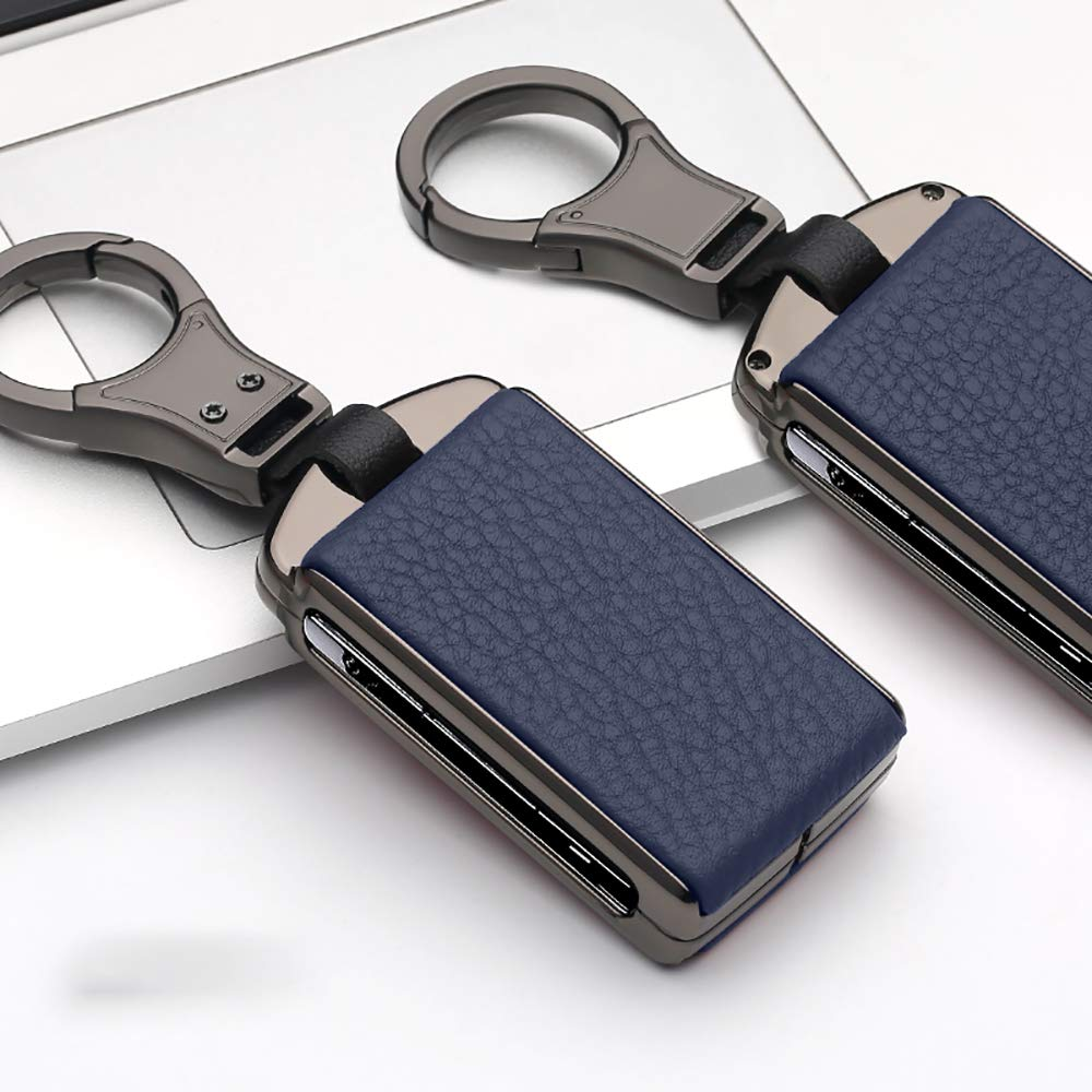 ontto Leather Key Fob Skin Keyless Metal Key Cover Case Keychain Keyring Fit for Volvo XC90 XC70 S60 S80 T5 T6 Blue