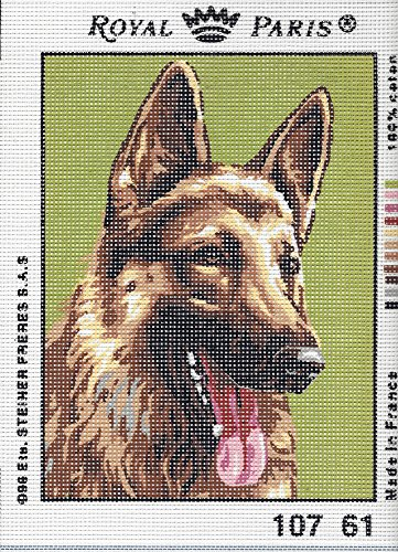 GERMAN SHEPHERD CLOSE UP NEEDLEPOINT CANVAS FROM ROYAL PARIS #107.61, NOT A KIT, CANVAS ONLY2 SMALL NEEDLEPOINT CANVAS - Royal Paris Needlepoint