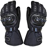 Generic Biker Outdoor Sports Full Finger Riding Motorcycle Armored Gloves Black M