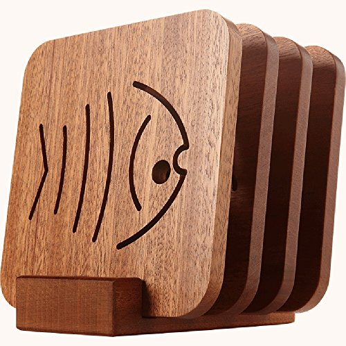 Wood Coasters Holder,Slotted Wood Coaster Stand Holds 4 Square Coasters - Raw Wood by HOPEBIRD (Image #2)