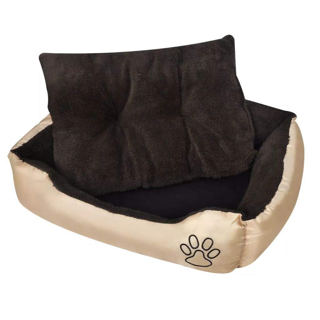 110 x 80 x 21 cm (L x W x H) vidaXL Dog Bed Beige and Brown XXL Pet Puppy Kennel Warm Mat Mattress Cushion