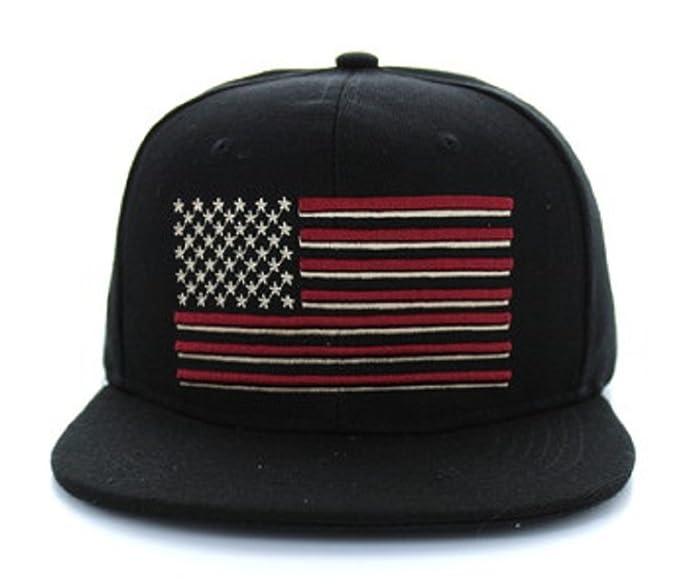08e2bf15e19b6b Artisan Owl USA American Flag Snapback Baseball Cap Hat - Choose Color -  Embroidered Hat (Black) at Amazon Men's Clothing store: