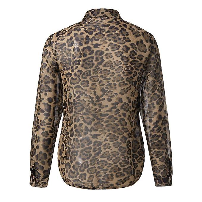 18e7d6f88fbfd0 MAYOGO Dame Leopard Animal Print Top Strickjacke Chiffon Hemd Bluse Langarm  Lässige Elegant Blusen Oberteile: Amazon.de: Bekleidung