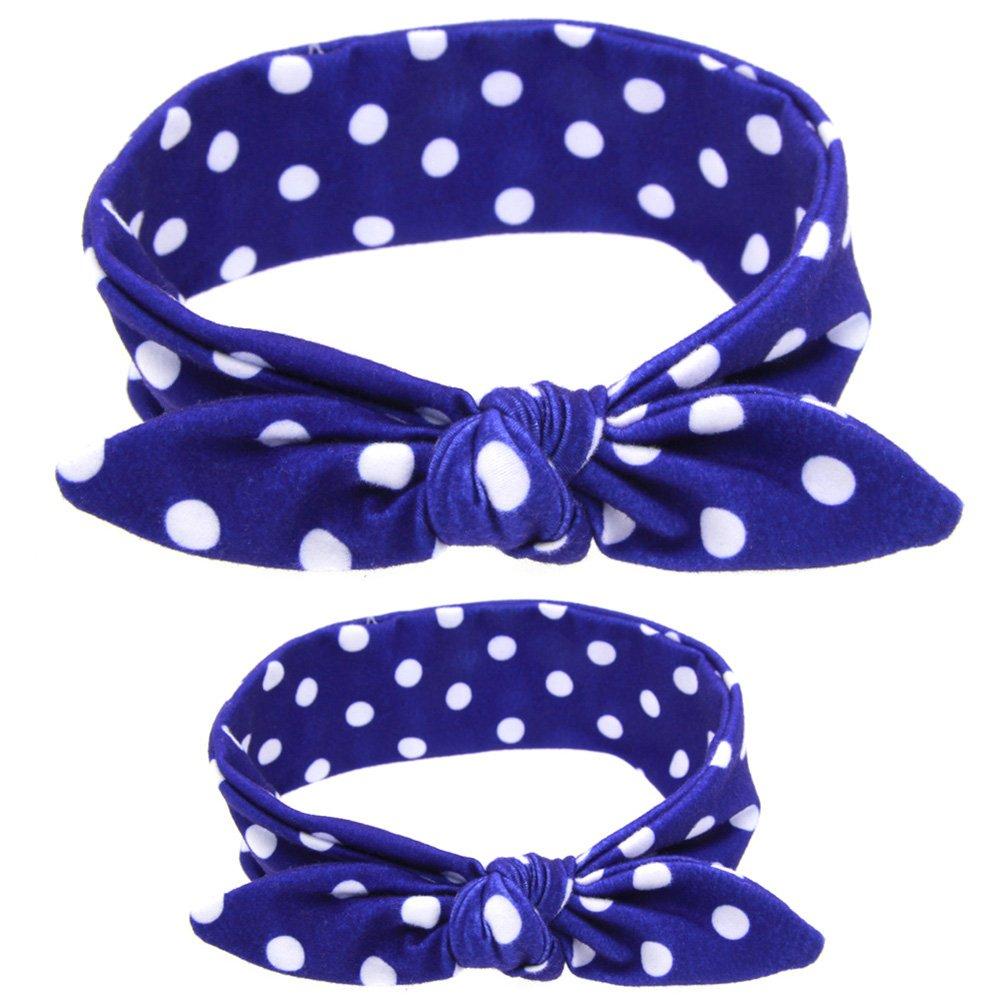 2x Demarkt Haarband Stirnband Kopfband Haarschleife für Mutter 85*6.5CM und Baby 67*5CM Blau