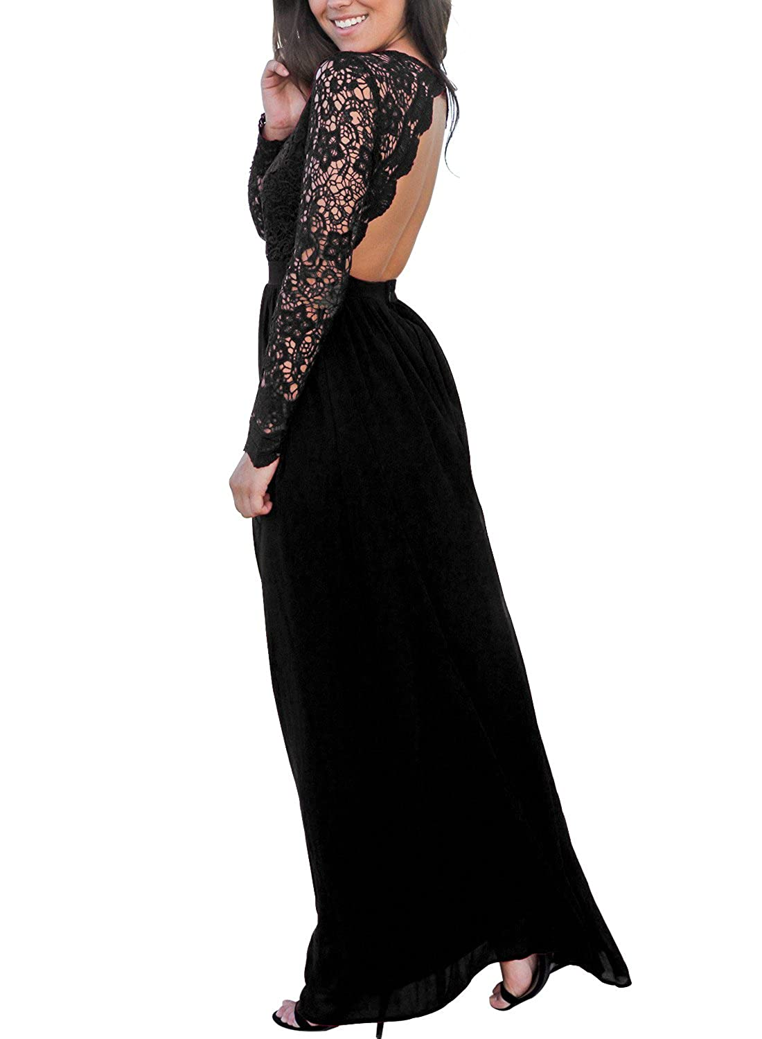 Cyerlia Womens V Neck Open Back Long Sleeve Lace Maxi Evening Dress at Amazon Womens Clothing store: