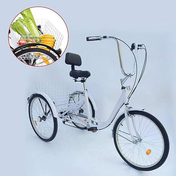 YiWon Triciclo Adulto, 24 Pulgadas 6 Marchas Bicicleta de 3 Ruedas Triciclo Mayor Bicicleta de Carga Compras Triciclo Bicicleta + Cesta Blanca: Amazon.es: Deportes y aire libre