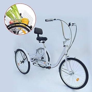 YiWon Triciclo Adulto, 24 Pulgadas 6 Marchas Bicicleta de 3 Ruedas ...