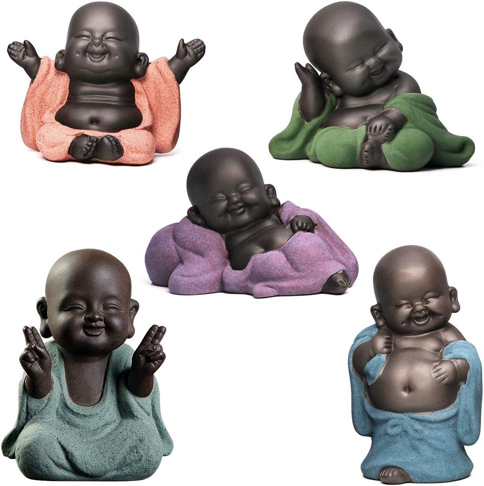 5 Estatuas de Buda Encantadoras Estatuas de Monje Peque/ño Figura de Buda de Cer/ámica Escultura Feng Shui Adornos Decoraci/ón del Hogar