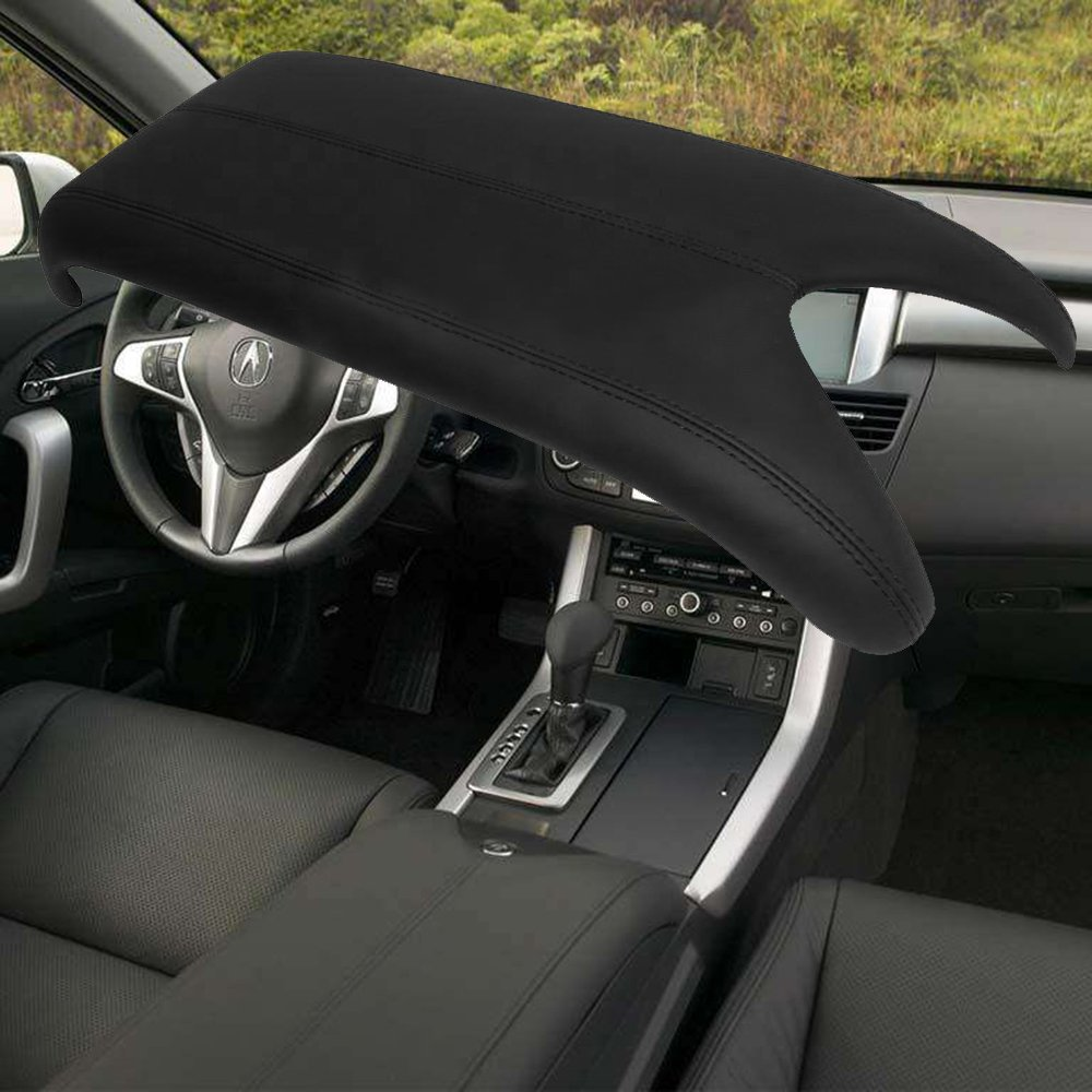 QKPARTS Fits 07-12 Acura RDX Center Console Lid Armrest Cover Real Leather Black