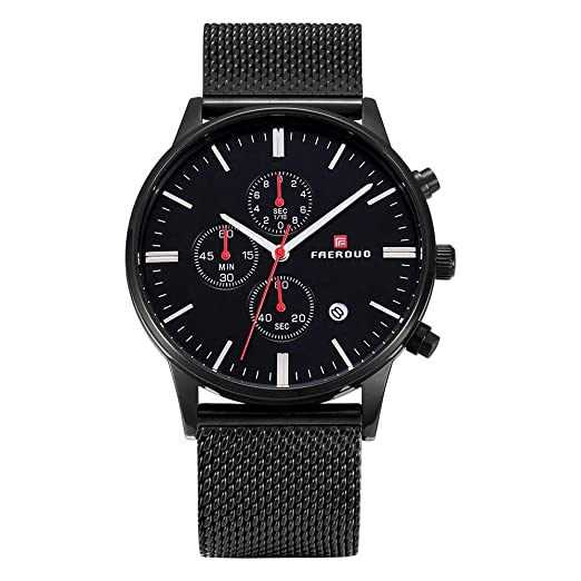 FAERDUO reloj de pulsera para caballero, cuarzo, resistente al agua, cronógrafo, visualización