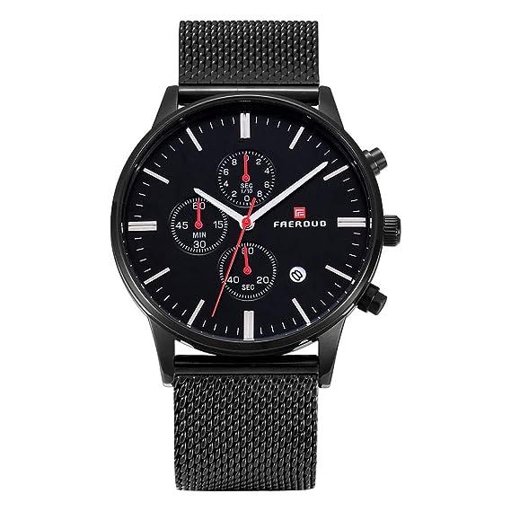 Faerduo Reloj Negro Moda Pulsera Vestir Casual Cuarzo Banda Relojes Para Acero Hombre Impermeable Con De Hombres Lujo nOkPw0