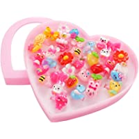 elegantstunning Kids Assorted Cute Resin Acrylic Cartoon Rings Toy with Plastic Storage Box Party Favors Girls Gift (Style Random) 36Pcs/Heart-Shaped Box