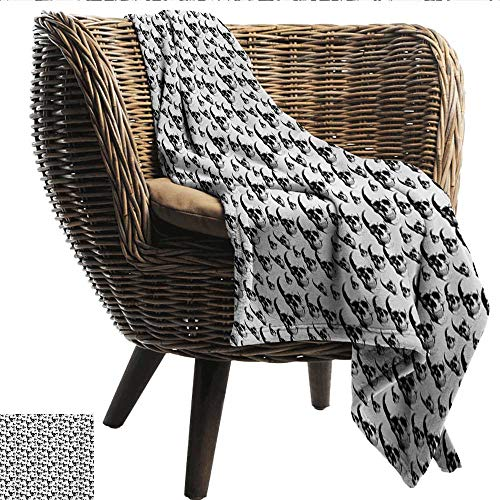 Anshesix Throw Blanket Skull Skulls Pattern Monochrome Detailed