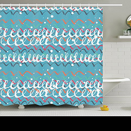 (Shower Curtains Seamless Colorful Artistic Expression Curly Textures Zigzag Texture Polyester Fabric Waterproof Mildew 72 x 72 Inches Bathroom Decor Bath Curtain)