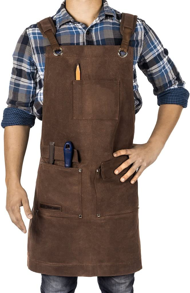 Woodworking Apron, Heavy Duty Waxed Canvas Work Apron With Pockets